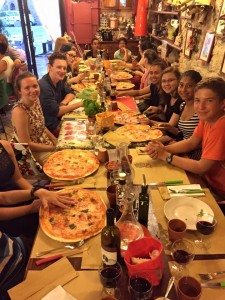 Dinner out in San Gimignano following a scavenger hunt around town, a climb up the Torre Grosse and the world's best gelato.